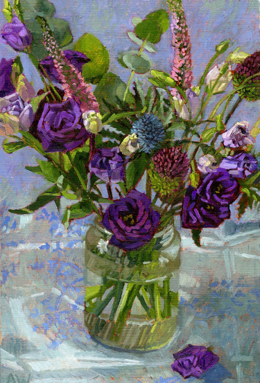 Purple Lisianthus with Thistles