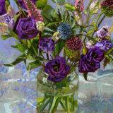 Purple Lisianthus with Thistles