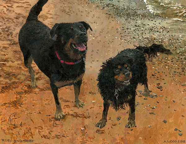 A painting of two dogs, Ruby and Toby playing on the beach.