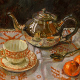 Silver Teapot and Vintage Cup