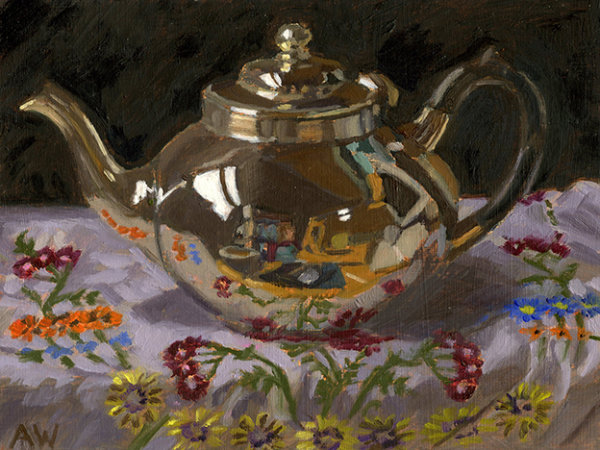 Silver Teapot on Embroidered Cloth