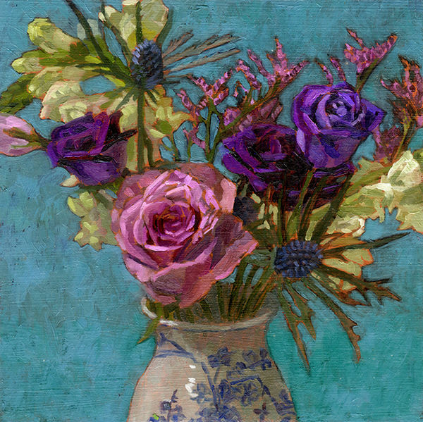 mauve and purple flowers in a vase on a blue background