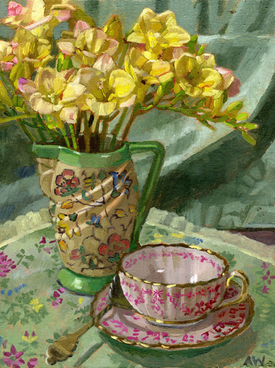 Yellow Freesias and Vintage Cup