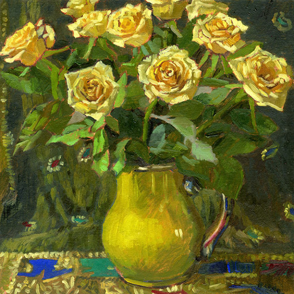 Yellow Roses on Sari Fabric