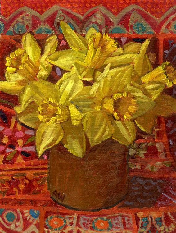 Daffodils in Brown Pot
