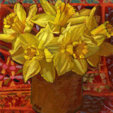 Daffodils in Brown Pot