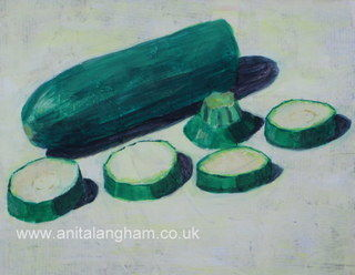 Green Courgettes Zucchini acrylic painting