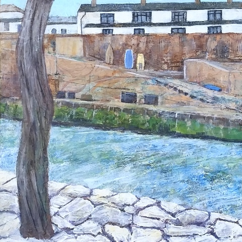 Bude Harbour Cornwall Original Mixed Media Painting