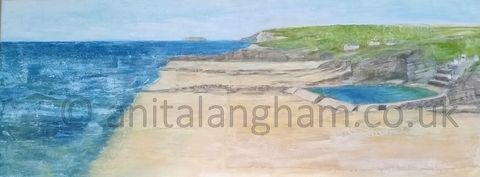 Bude Seapool to Lundy Cornwall Original Painting