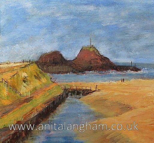Bude Beach painting Summerleaze beach framed original