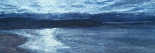Bude Beach Winter Sunset Cornwall Original Painting