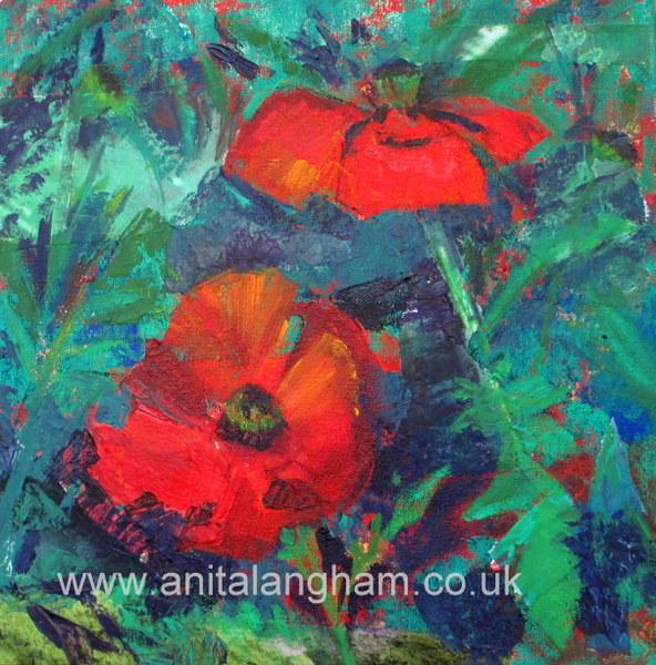cornish poppies original mixed media flower painting
