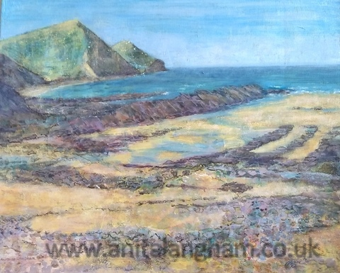 crackington haven, spring original mixed media painting