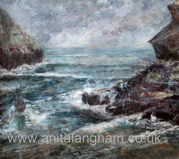 Boscastle Harbour painting print boat sea rocks