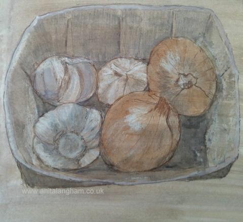 Garlic & Onions Pencil Drawing