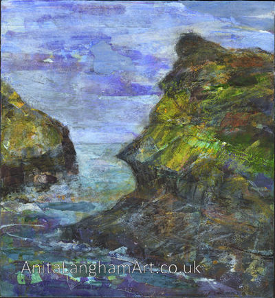 Boscastle Harbour Cornwall limited edition sea print for sale