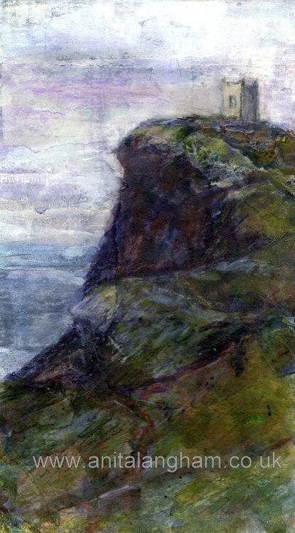 Boscastle Lookout Painting print in the Mizzle Cornwall