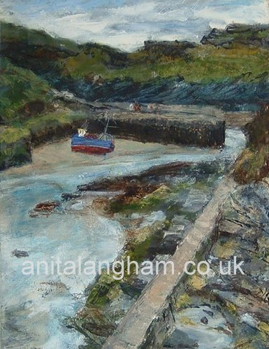 Boscastle low tide original mixed media painting
