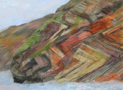 Millook Beach Rocks painting