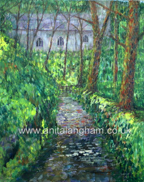 Minster Church Boscastle Cornwall giclee print for sale woodland Valency Valley