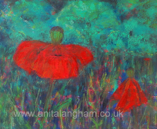 poppies flower painting red green