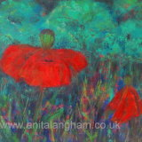 poppies by moonlight original mixed media flower painting