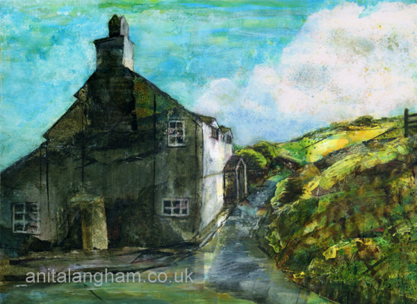 Boscastle cottage original mixed media painting