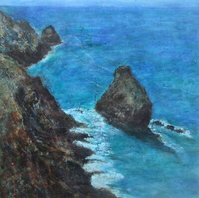 Short Island, Boscastle painting sea and cliffs