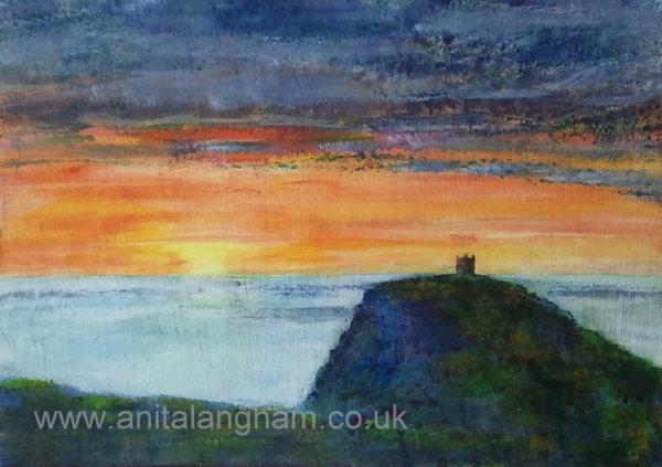 Boscastle Lookout sunset original painting