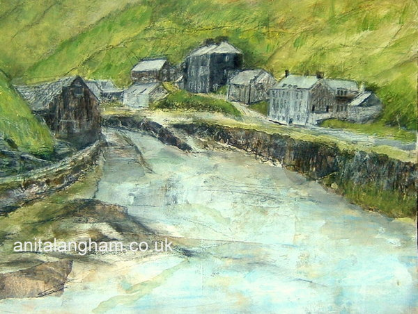 Boscastle Harbour painting print Cornwall