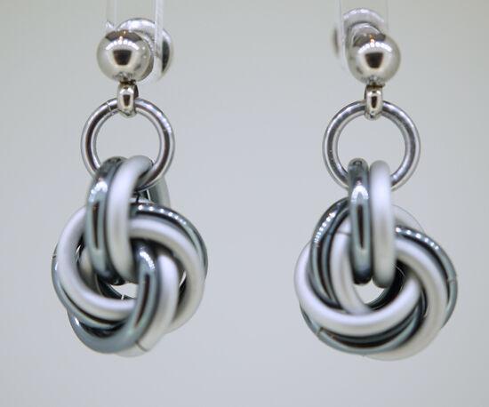 Gunmetal and Satin White Mobius Knot earrings