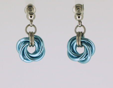 Ice Blue Mobius Knot Earrings