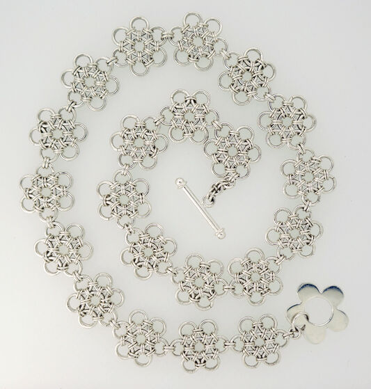 Japanese Flower Sterling Silver Necklace