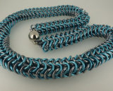 Turquoise & Gunmetal Rope Necklace