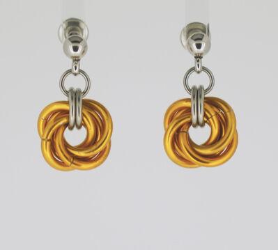 Orange Mobius Knot Earrings