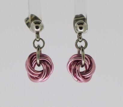Pink Mobius Knot Earrrings