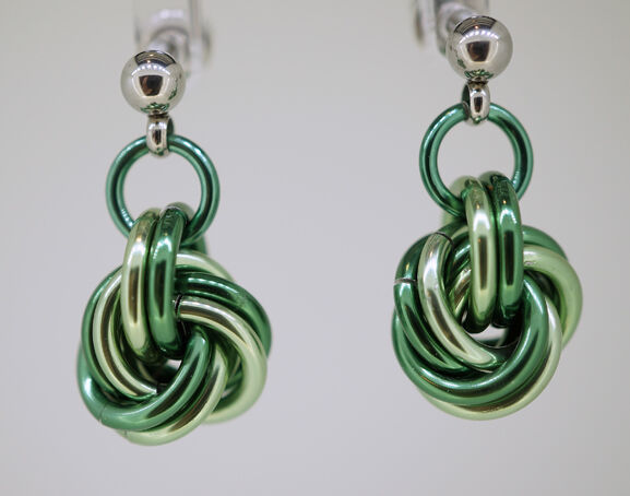 Shades of Green Mobius Knot Earrings