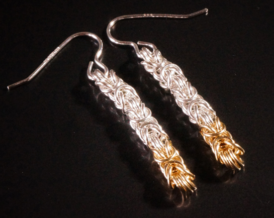 Sterling Silver & 9 carat Gold Byzantine Drop Earrings