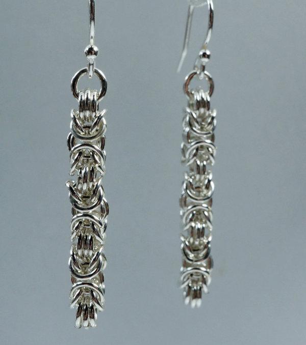 Sliver Byzantine Drop Earrings