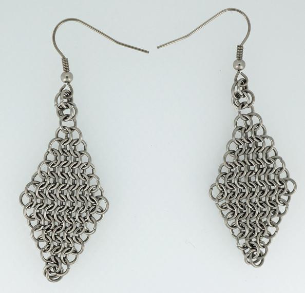Stainless Steel Diamond Drop Earrings
