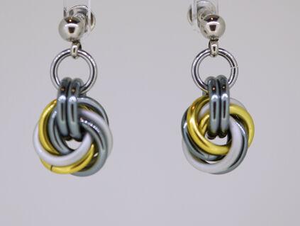 Yellow, Satin White and Gunmetal Mobius Knot Earrings.
