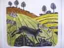 Unique hand coloured lino cut Hare at Burrough
