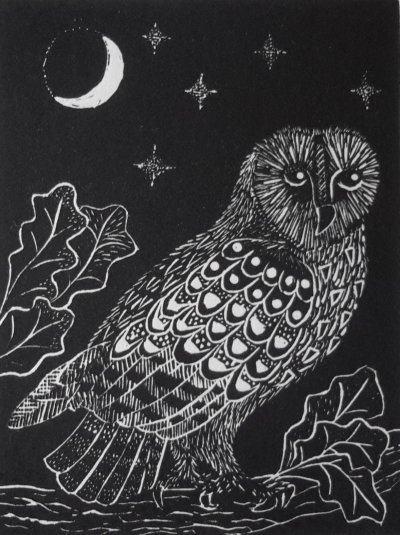 Owl and Moon   Wood engraving  Image size 7.5 cm x 10 cm  Edition of 70
