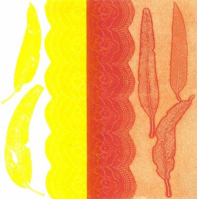 Five eucalyptus leaves  Monoprint Image size 30 cm x 30 cm