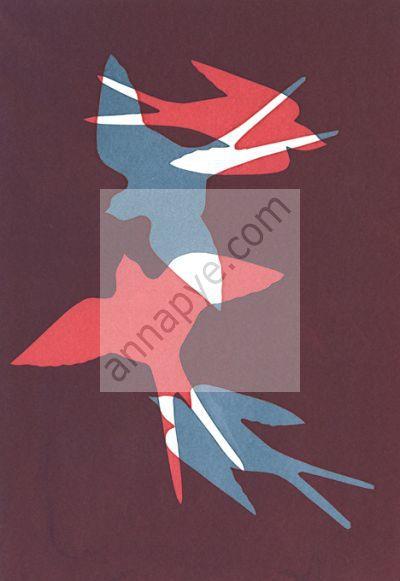 Swallows screenprint