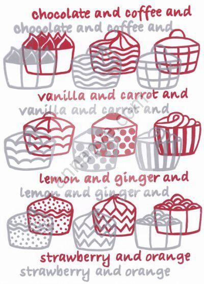 Cup cakes screenprint