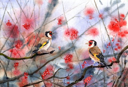 Christmas cards Berry Goldfinches CC3