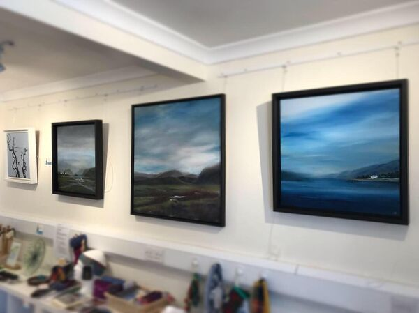 Part of the exhibition space -Gill Knight paintings