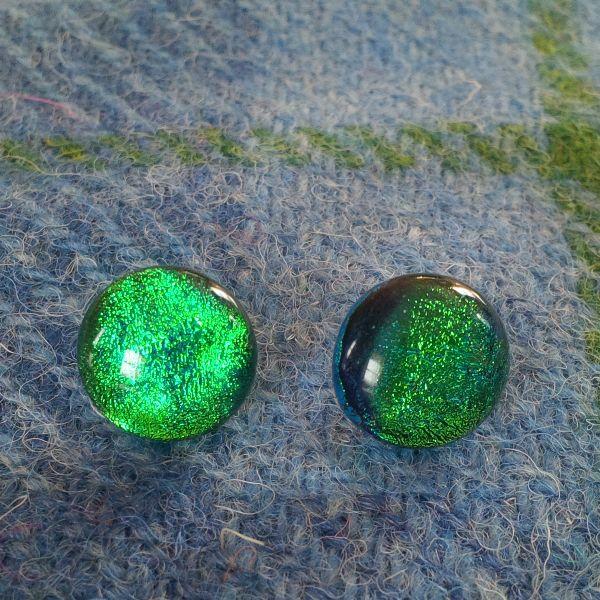 Green dichroic glass ear studs