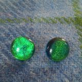 Green dichroic glass ear studs